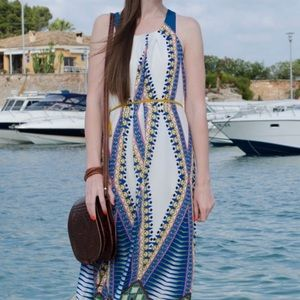 Anthropologie Belted maxi dress